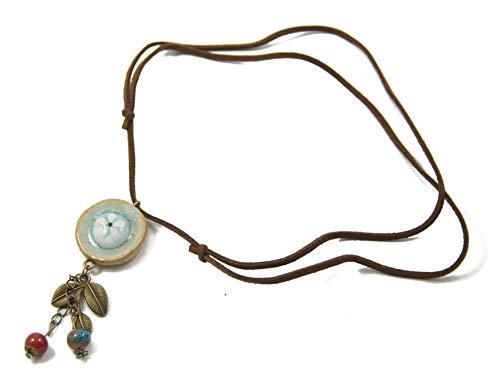 Ethno Wild-Lederkette mit Keramik-Perlen, Blättern, Keramik-Anhänger | Bohemian/Boho Style | Trachten-Schmuck | ca. 70cm lange WildLeder-Halskette aus PU-Leder, (P1757)