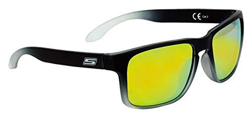 Sonnenbrille, Schwarz, matt, Nuance, Grau, verspiegelte Gläser, goldfarben 3 CE 100% UV