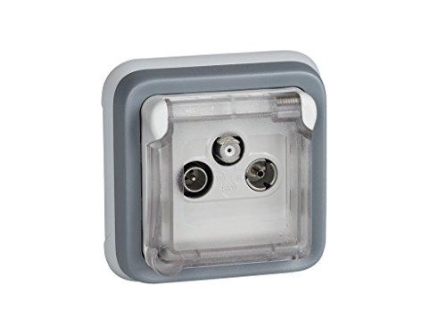 Legrand Plexo-Steckdose TV Antenne für Einbauset mit modernen IP55gegen Wasser () grau - Tv Wasser
