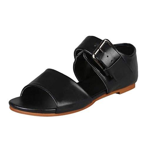 Meilleure Vente LuckyGirls Summer Women's Sandals Fashion Belt Buckle Sandals Flat Bottom Roman Ladies Sho