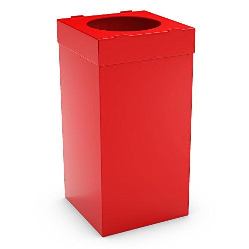 PoubelleDirect - Recolector de desechos, de plástico, cubo de basura para reciclaje, de 80 l, color rojo