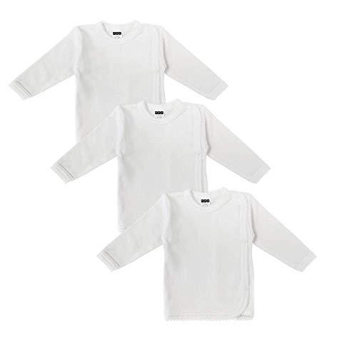 MEA BABY Unisex Baby Wickelshirt Wickeljacke Langarm, 100% Bio-Baumwolle im 3er Pack. Wickelshirt Weiss (Creme), Wickelshirt für Mädchen, Wickelshirt für Junge, 56, Jungen - Baby Unterhemd