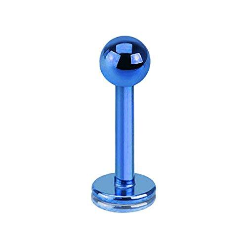 Piercingfaktor Piercing Stab Stecker Lippenpiercing Lippe Monroe Labret Lippen Ohr Tragus Helix Stud mit Kugel Innengewinde 1,6mm x 10mm x 4mm Blau