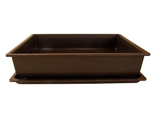Bonsaischale aus Kunststoff | mit dunkelbraunem Untersetzer | Länge: 40cm - Breite: 30cm - Höhe: 10cm | eckige Form