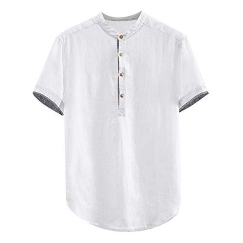 Übergröße Kostüm Camel - Zolimx Herren Kurzarm Übergröße Henley Shirt Freizeithemd Männer Baggy Solide Baumwolle Leinen Kurzarm Button Plus <br> Größe T Shirt Tops Bluse