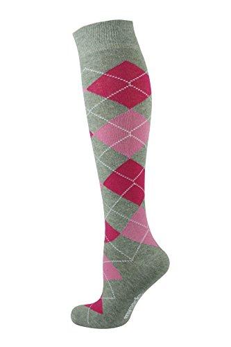 Mysocks® Kniehohe Argyle Socken Asche Fuchsie Rosa