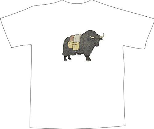 T-Shirt E832 Schönes T-Shirt mit farbigem Brustaufdruck - Logo / Grafik - Comic Design - Bison als Lastentier mit Eimern Mehrfarbig