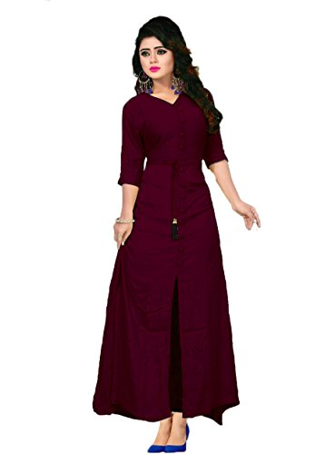 Vaidehi Creation Reyon Cotton Indo-Western Style Long Gown Kurti (Kurtas) (Black)