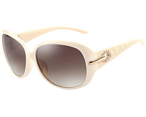 ATTCL Mode Polarisiert UV400 Plaid Oversize Damen Sonnenbrillen 6214 Weiß