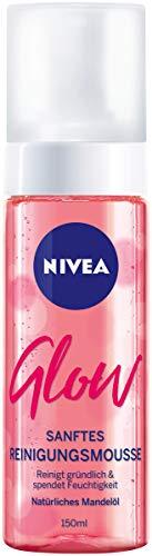 NIVEA Glow Reinigungsschaum im 4er Pack, feuchtigkeitsspendendes Reinigungsmousse mit Mandelöl, gründliche und sanfte Gesichtsreinigung