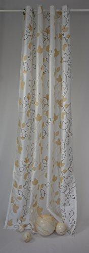 Ösenschal Elbersdrucke Beauty Fertigvorhang Gardine Schal Store Vorhang Ösen ca. 140 x 225 cm Weiß/Beige