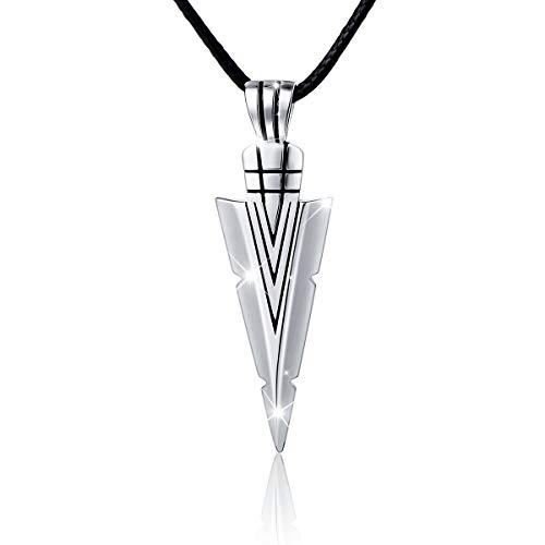 Flyow Retro Stil 925 Sterling Silber Dreieck Anhänger Halskette Herren 60 cm Leder Kette Schmuck Geschenk für Männer oder Freund, mit Schmuckbox (Leder-halskette Für Anhänger)