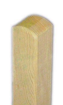 Pfosten \'Premium\' 9x9cm x 120cm - Rundkopf - kdi/Zaunpfosten aus getrocknetem Holz glatt gehobelt - 9x9 cm breit und 120 cm hoch - abgerundeter Kopf - kesseldruckimprägniert