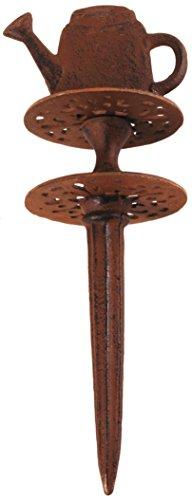 Schlauchführung Gießkanne, in antikbraun, aus Gußeisen, Wasserschlauchführung, Gesamthöhe 30 cm