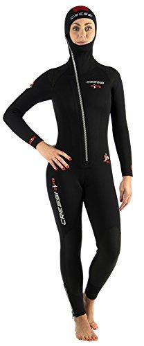 Cressi Damen Tauchanzug Diver 7 mm mit Angesetzter Haube, Schwarz/Red, M, LU489703