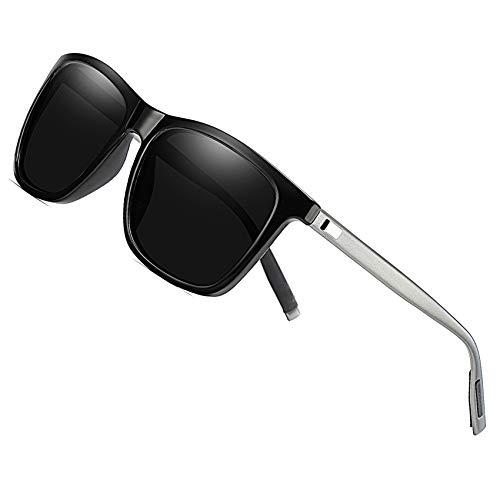 Duco occhiali da sole polarizzati unisex metal quadrati con protezione uv400 per gli sport all'aria aperta 3029h (nero brillante)