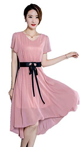 JRhong V-Ausschnitt Midikleid Schlank Tunikakleid Asymetrisch Chiffonkleid Binden Damen Kleid