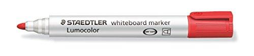 STAEDTLER Lumocolor whiteboard marker, 10 pennarelli di colore rosso, punta tonda, 351-2, 10 Pezzi