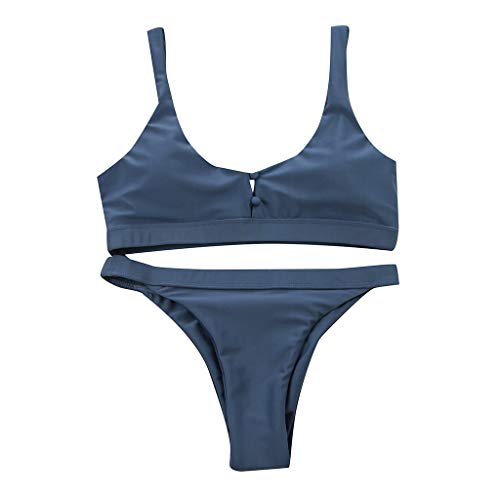 CICIYONER Frauen Badeanzug Bikini Set Damen Push-Up Gepolsterter BH Button Beach Bademode S-XL