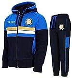 Inter Tuta Cappuccio E Zip Ufficiale Bambino F.C Personalizzata Personalizzabile (8 Anni, L)