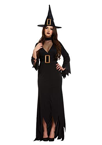 Emmas Wardrobe Black Witch Kostüm für Frauen - Adult Halloween-Kleid UK Größe 8-16 (Women: 38, Black)