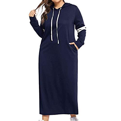 LOPILY Damen Kleider Große Größen Gestreiftes Polokleid Langarm Langes Sportkleid Kapuzenkleid mit Taschen Freizeit Maxikleid Blusenkleid Herbst Shirtkleid (Blau, 50)