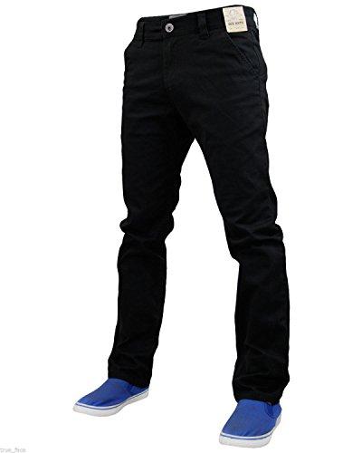 New Mens Designer Jack south Stretch Slim fit Chino Straight Leg Trousers Pants Jet Black