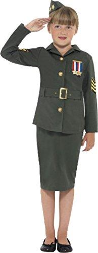 Kinder Mädchen Fancy Kleid 2. Weltkrieg Army Girl Kostüm Komplettes Outfit Khaki Grün Gr. Medium, grün