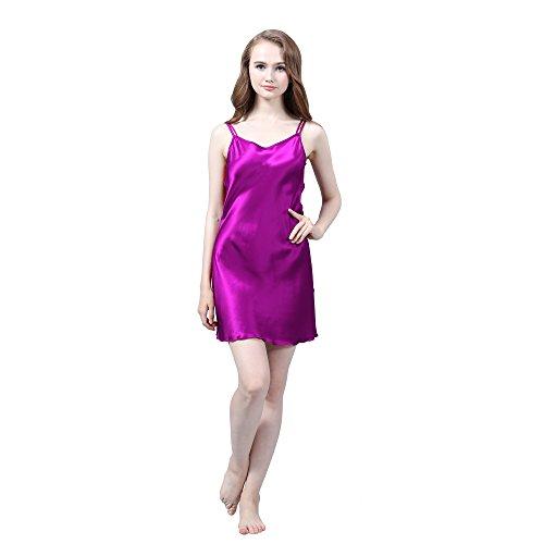 LULUSILK Damen 19 Momme Seide Nachthemd Rundhalsausschnitt Spaghettiträger über Knie Nachtkleider Violett