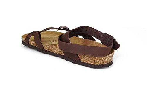JOE N JOYCE Yana Pelle oliato sandali stretto Dark Brown