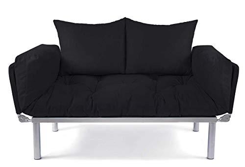 EasySitz Schlafsofa Sofa 2 Sitzer Kleines Couch 2-Sitzer Schlafsessel für Zweisitzer Personen Mein Futon Sitzen EIN Einer Farbauswahl (Schwarz & Schwarz)