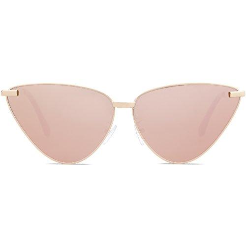Sojos occhiali da sole donna retro vintage occhi di gatto montatura in metallo cateye sj1091 con oro telaio/rosa lente