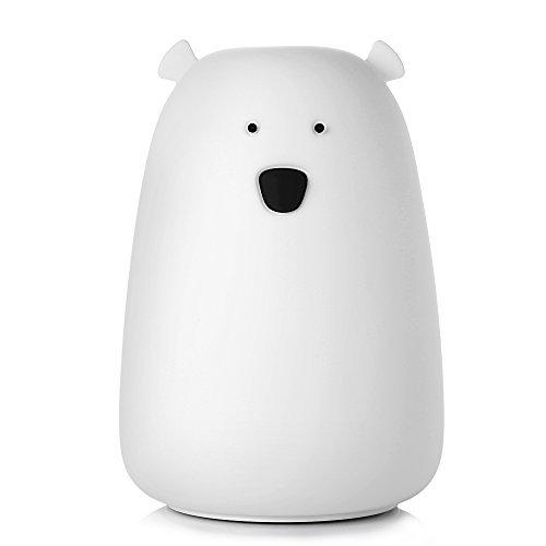 InLife LED Nachtlicht Bär Design Schlummerlicht Eisbär mit Berührungssensor und micro USB Kabel Süße Kinder Nachttischlampe mit 7 wechselnden Farben