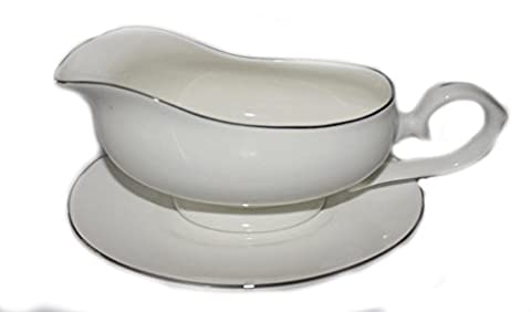 Bone china WHITE AND SILVER EDGED GRAVY BOAT AND STAND-