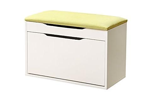 weiju fmj-fxt 80CM 2 Tier Storage Schuh Schrank, weiß schmalen Schuh Bank mit Kissen und Sitz, große hölzerne Prime Schuhe Rack für Wohnzimmer, Flur, Eingang, (Natural Wood Cabinet)