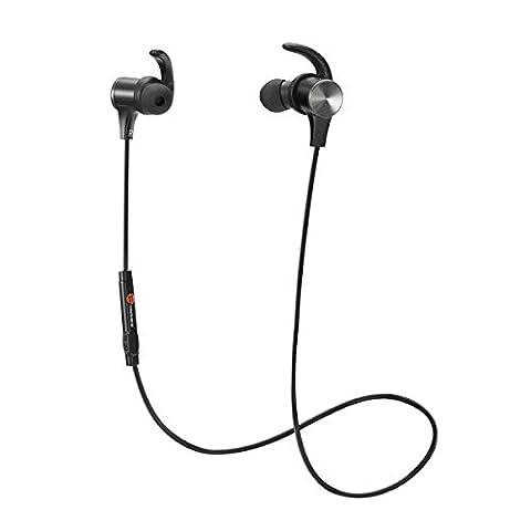 TaoTronics Bluetooth Kopfhörer 4.1 In Ear Ohrhörer Stereo mit Mikrofon, magnetische Headset AptX IPX5 Wasserschutz für iPhone 6 6S 6 Plus 6S Plus 5S 5 5C 4S 4, Galaxy S6 S6 Edge S5 S4 Mini