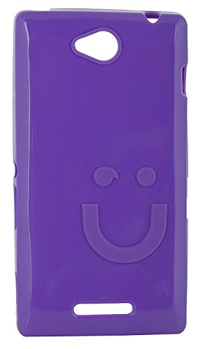 iCandy™ Imported Quality Soft TPU Smiley Back Cover For Sony Xperia C C2305 S39H - Purple  available at amazon for Rs.195