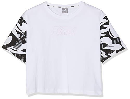 PUMA Mädchen Alpha AOP Tee 1 G T Shirt, White, 176