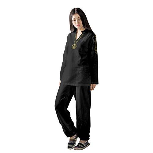 KSUA Frauen Yoga Anzug mit OM Design Baumwolle Zen Meditation Anzug Tai Chi Uniform Martial Arts Kleidung Lange Ärmel Schwarz, EU L/Etikett XL (Martial-arts-uniform V-ausschnitt)
