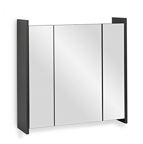 Galdem FROSTI Spiegelschrank 70cm Badezimmerschrank Wandschrank Badmöbel 3 Spiegeltüren 6 Einlegeböden
