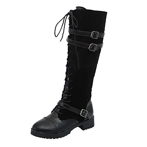 Bild von LHWY Damen Stiefel mit Absatz Frauen Schuhe Vintage Flock Roman Reiten Kniehohe Cowboystiefel Stiefel Lange Outdoor Freizeitschuhe Plus Größe 38-43