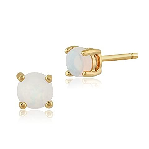 Gemondo Opal Stud Earrings, 9ct Yellow Gold 0.20ct Opal Cabochon Classic Round Stud Earrings 3.50mm