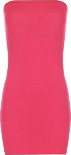 WearAll - Damen Brust Tube Strecke Bodycon Kurz Ärmellos Top Hässlich Mini Kleid - Cerise - 40-42 (Mini Kleid Bustier)