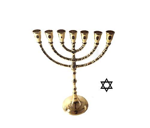 LB H&F Kerzenleuchter Menora Gold Davidleuchter aus Messing