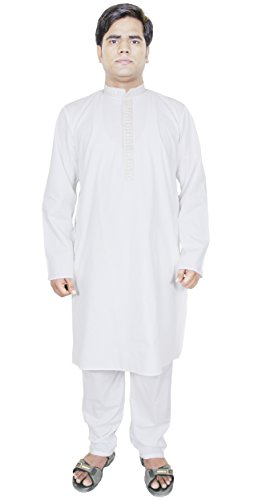 kurta-pajama-mens-pure-cotton-white-dress-solid-ethnic-summer-dress-l