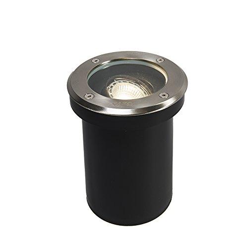 QAZQA Moderne Spot de sol orientable Delux verre/Plastique /Acier inoxydable Acier GU10 Max. 1 x 50 Watt/Extérieur / Jardin/Luminaire / Lumiere/Éclairage