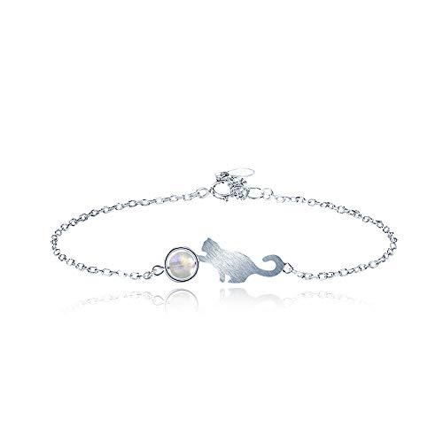 Wikimiu Pulseras para Mujer plata 925, Diseño de piedra de luna de gato, Joyería de moda dulce, Regalo para mujer para el día de san valentín de cumpleaños