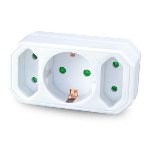 benon Mehrfachstecker weiß - Steckdosen-Adapter mit Kindersicherung - Doppelstecker 3500W - 3Fach Multistecker - 2X Euro- und 1x Schuko - Mehrfachsteckdose