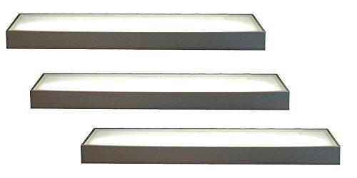 keenberk 3er Set LED Wandregal beleuchtet, Glasbodenleuchte Edelstahloptik 450 mm