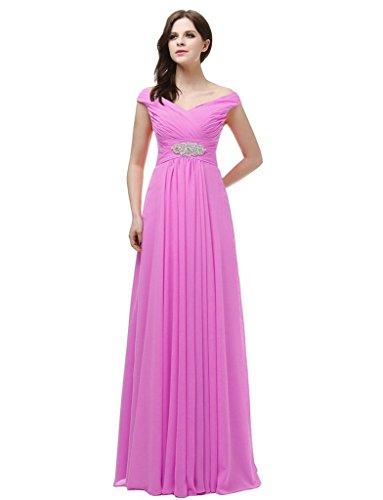 jydress womes de Col en V robe de soirée longue dos-nu en mousseline de soie Rose - Rose